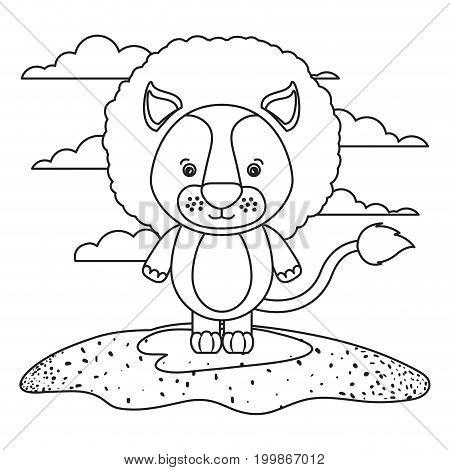 sketch silhouette scene cute lion animal in grass vector illustration