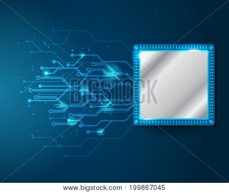 Processor and circuit electric working digital concept Abstract digital and technological background Vector illustration