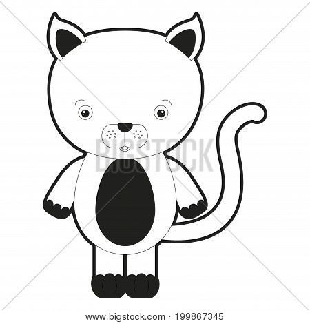 sketch silhouette monochrome caricature cute cat animal vector illustration
