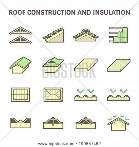 Roof construction and insulation material for building vector icon set.