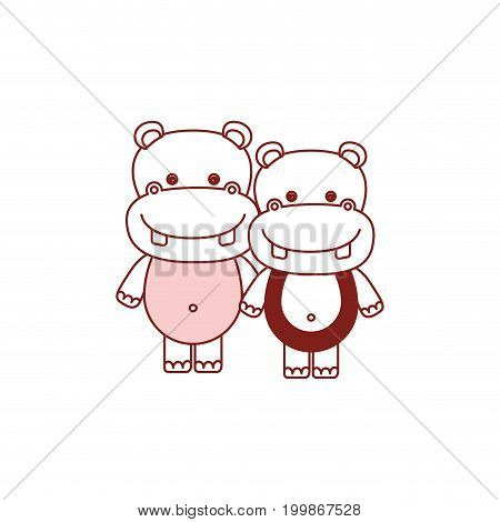 white background with red color silhouette sections of caricature couple cute animal hippopotamus vector illustration