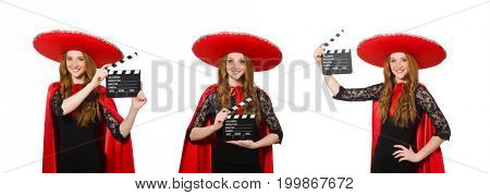 Funny girl with movie board