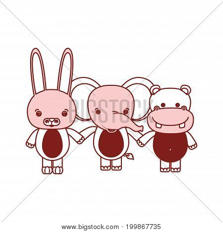 white background with red color silhouette sections of caricature rabbit elephant and hippopotamus cute animals holding hands vector illustration