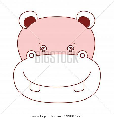 white background with red color silhouette sections of caricature face hippopotamus cute animal vector illustration