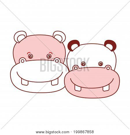 white background with red color silhouette sections of caricature face couple cute animal hippopotamus vector illustration