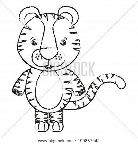 blurred silhouette caricature cute tiger animal vector illustration