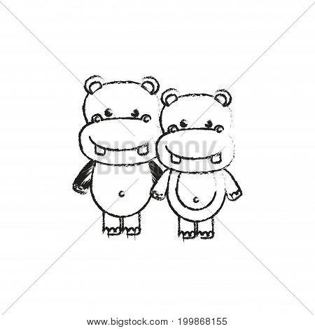 blurred silhouette caricature couple cute animal hippopotamus vector illustration
