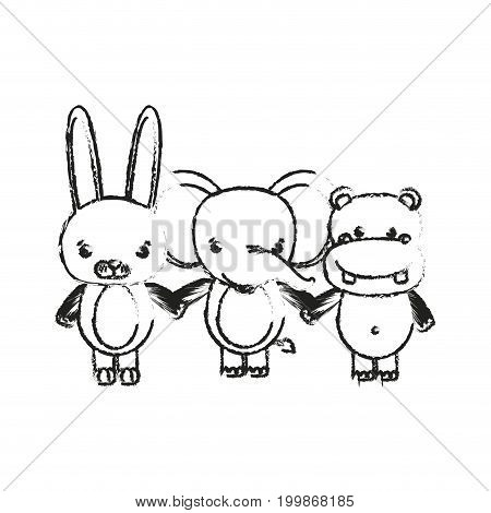 blurred silhouette caricature rabbit elephant and hippopotamus cute animals holding hands vector illustration