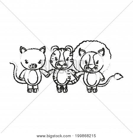 blurred silhouette caricature cat tiger and lion cute animals holding hand vector illustration