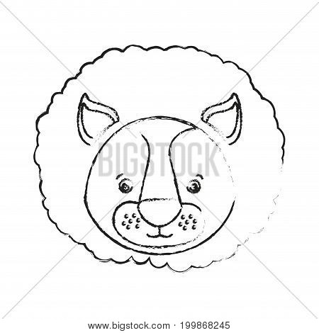 blurred silhouette caricature face lion cute animal vector illustration