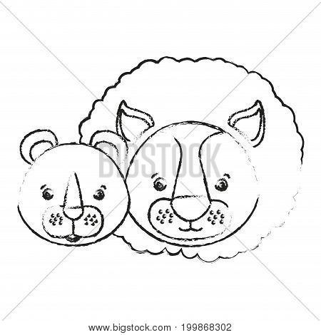 blurred silhouette caricature face couple cute lion and lioness animals vector illustration