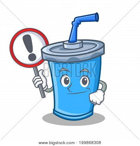 With sign soda drink character cartoon vector illustration
