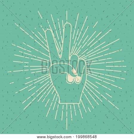 color background with silhouette peace hand gesture vector illustration