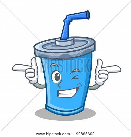 Wink soda drink character cartoon vector illustration