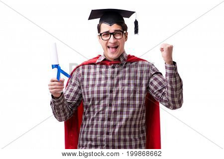 Super hero student graduating wearing mortar board cap isolated