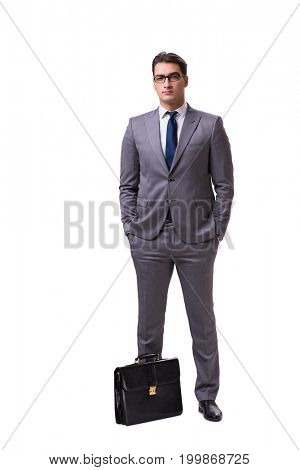Young businessman isolated on white background