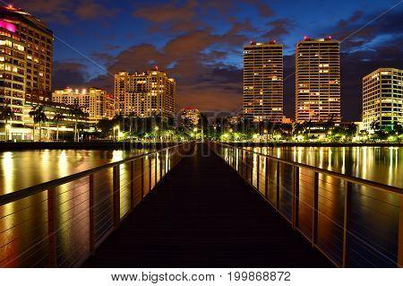 West Palm Beach, Florida, Skyline at Night