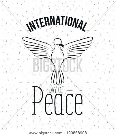 white background with sparks and silhouette pigeon with olive branch in peak and text day of peace vector illustration
