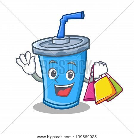 Shopping soda drink character cartoon vector illustration