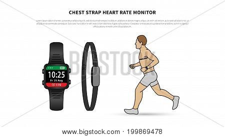 Chest strap heart rate monitor vector illustration. Heartbeat monitor watch for sport and fitness line art concept. Activity tracker with chest-based heart rate monitoring graphic design.
