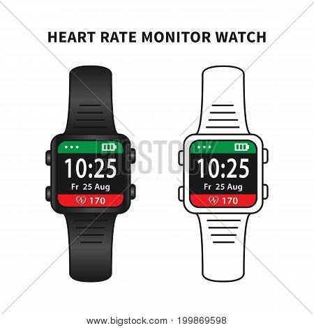 Heart rate monitor watch concept vector illustration. Fitness wristband with heart rate monitoring feature creative concept. Smart watch for sport graphic design on white background.