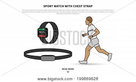 Sport watch with chest strap vector illustration. Heart rate monitor watch for sport and fitness line art concept. Activity tracker with chest-based heart rate monitoring graphic design.