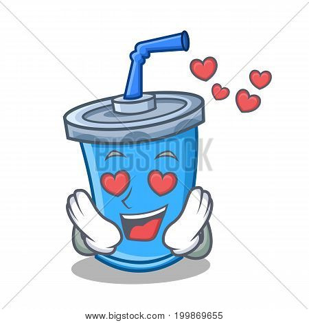 In love soda drink character cartoon vector illustration