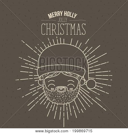 brown poster with sparks and silhouette cute face santa claus and text merry holly jolly christmas vector illustration