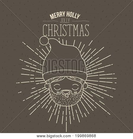 brown poster with sparks and silhouette cute closeup face santa claus with tongue out and text merry holly jolly christmas vector illustration