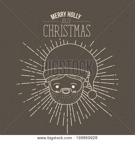 brown poster with sparks and silhouette cute face santa claus with smile expression and text merry holly jolly christmas vector illustration
