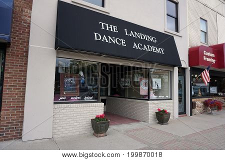 CADILLAC, MICHIGAN / UNITED STATES - MAY 31, 2017:  One may learn to dance at the Landing Dance Academy, on Mitchell Street in Downtown Cadillac.