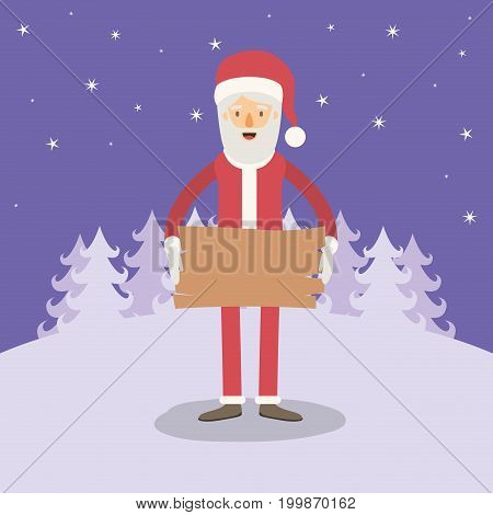 violet winter landscape background with full body caricature of santa claus with a wooden sign vector illustration