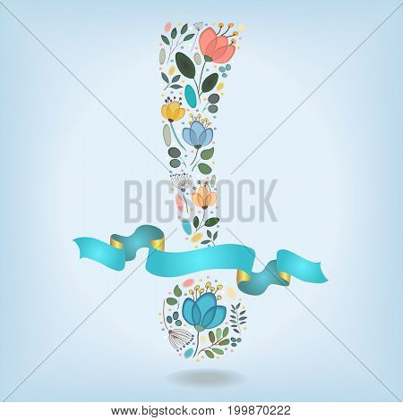 Floral Romantic Exclamation Point. Watercolor graceful flowers plants and blurs. Blue ribbon with golden back and place for custom text. Illustration
