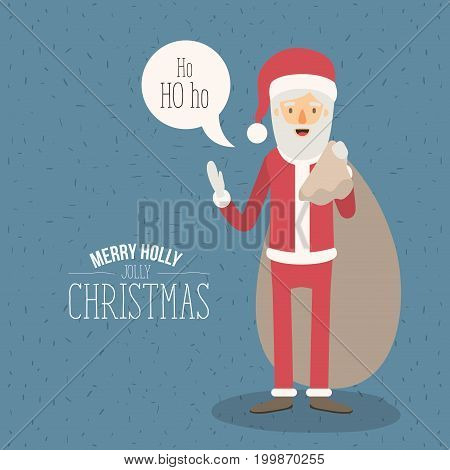 color poster with sparks merry holly jolly christmas with full body caricature of santa claus with dialogue box text ho ho ho and bag of gifts vector illustration