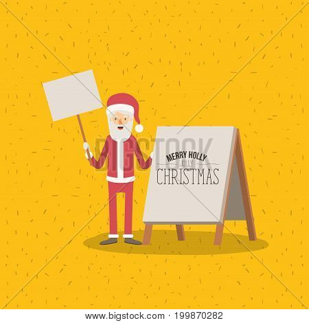color poster with sparkswith full body caricature of santa claus with wooden sign in hand and placard with merry holly jolly christmas vector illustration