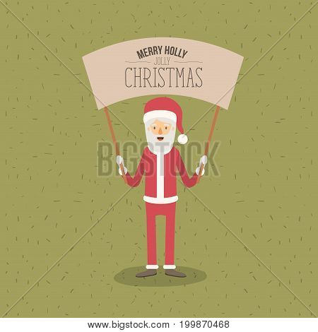 color poster with sparks with full body caricature of santa claus with placard text merry holly jolly christmas vector illustration