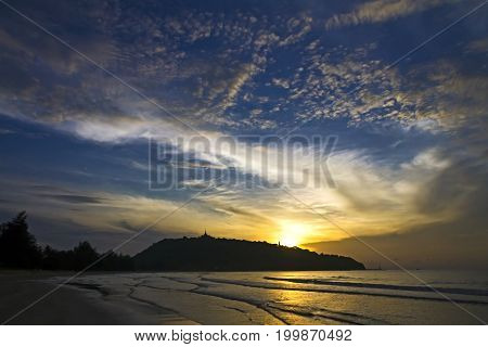 Sunrise beautiful with cloud the beach Ban Krut Beach in Prachap Kirikhun Province Thailand is famous for travel