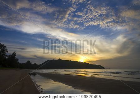Sunrise and cloud morning the beach Ban Krut Beach in Prachap Kirikhun Province Thailand is famous for travel
