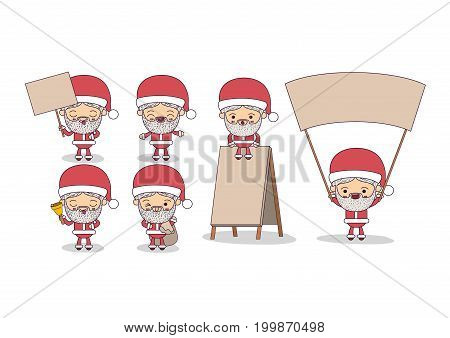white background of set full body cute caricature of santa claus with placard wooden vector illustration