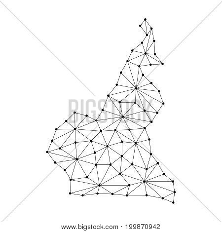 Cameroon map of polygonal mosaic lines network rays and dots vector illustration.