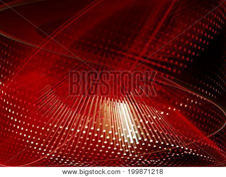 Abstract background element. Fractal graphics series. Curves, blurs and twisted grids composition. Red and black colors.