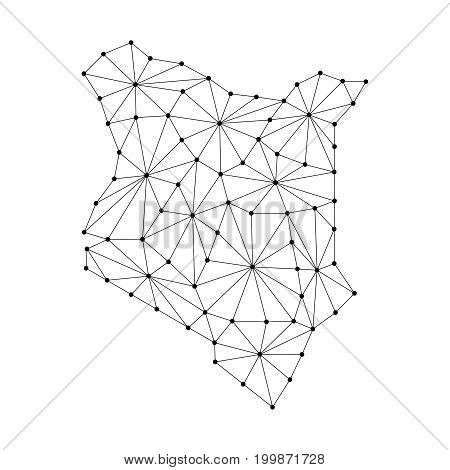 Kenya map of polygonal mosaic lines network rays and dots vector illustration.