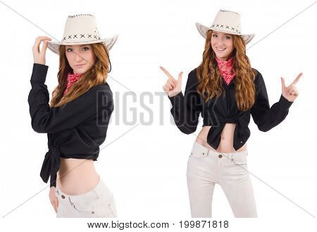 Woman cowgirl isolated on white