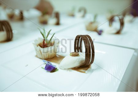Chef  Decorating Dessert On The White Plate In Luxury Dinner Party, Blurry Background With Vintage C