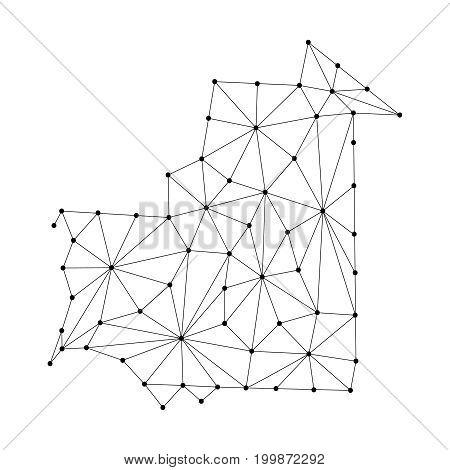 Mauritania map of polygonal mosaic lines network rays and dots vector illustration.