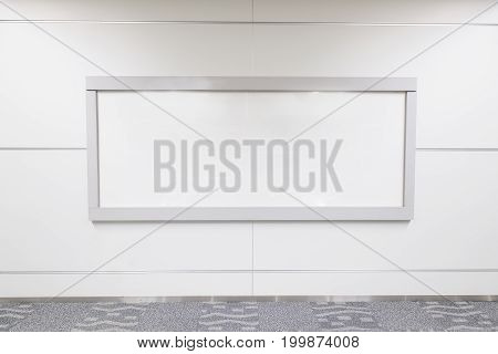 close up of blank billboard in public place