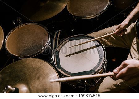 Drum set closeup. Drummer recording music, rock band concert, hobby for male