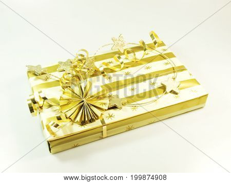Gift box in gold and white color