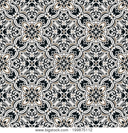 Boho style ornamental seamless pattern. Tiled floral design, best for print fabric or papper and more.