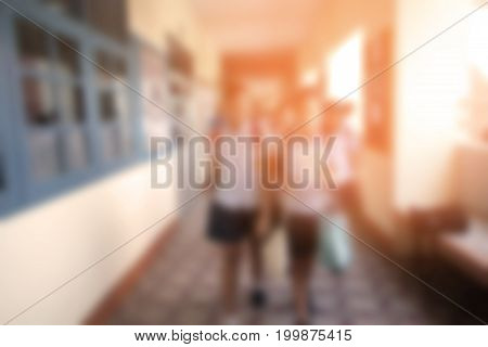 Blurred Background Of Walkway In School Building With Students Walking Change Classroom With Vintage